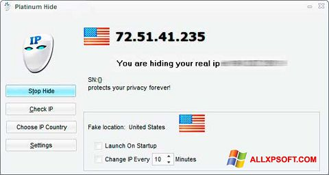 Screenshot Hide IP Platinum untuk Windows XP