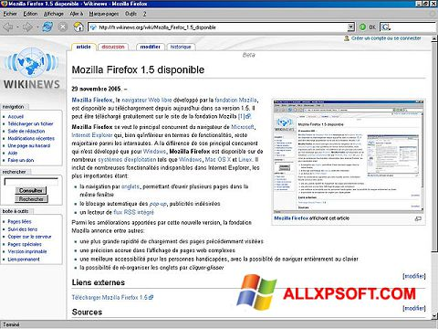 Screenshot Mozilla Firefox untuk Windows XP