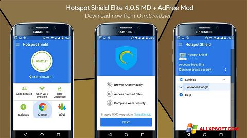 Screenshot Hotspot Shield untuk Windows XP