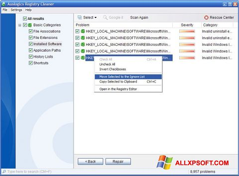 Screenshot Auslogics Registry Cleaner untuk Windows XP