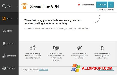 Screenshot Avast SecureLine VPN untuk Windows XP