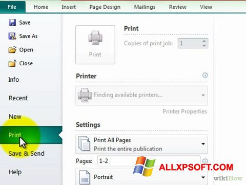 Screenshot Microsoft Publisher untuk Windows XP