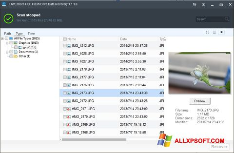 Screenshot USB Flash Drive Recovery untuk Windows XP