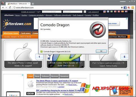 Screenshot Comodo Dragon untuk Windows XP