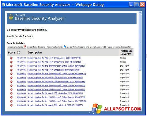 Screenshot Microsoft Baseline Security Analyzer untuk Windows XP