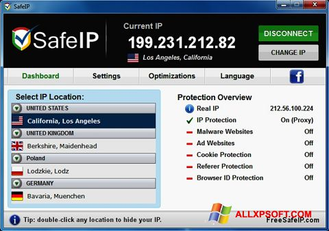 Screenshot SafeIP untuk Windows XP