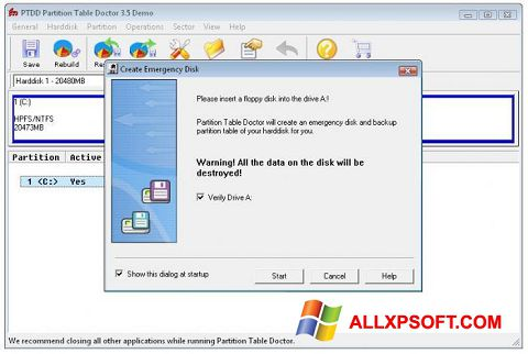 Screenshot Partition Table Doctor untuk Windows XP