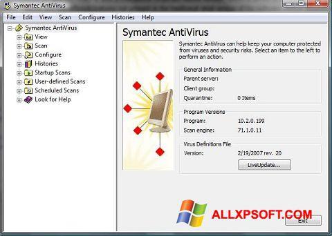 Screenshot Symantec Antivirus untuk Windows XP