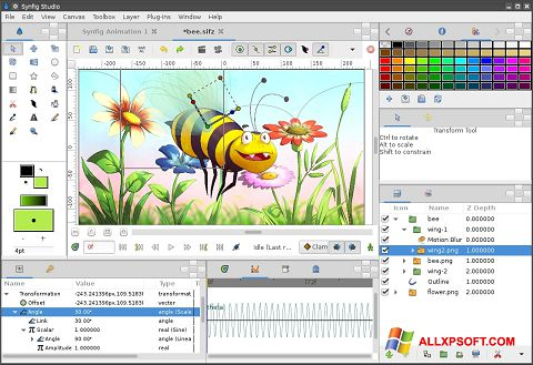 Screenshot Synfig Studio untuk Windows XP