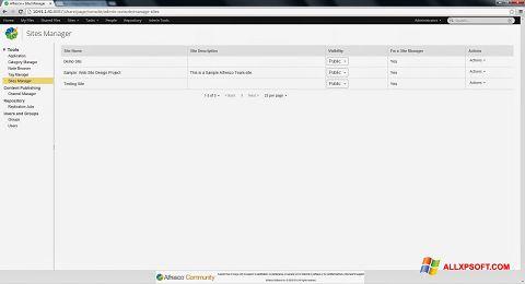 Screenshot Alfresco untuk Windows XP