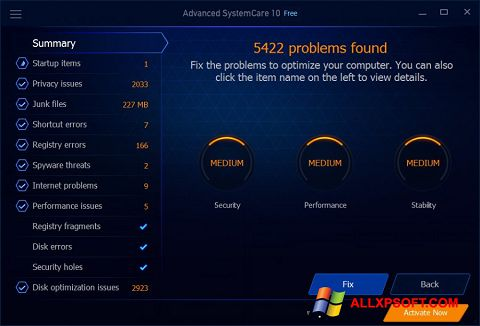 Screenshot Advanced SystemCare Free untuk Windows XP