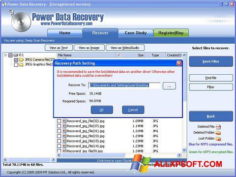 Screenshot Wondershare Data Recovery untuk Windows XP