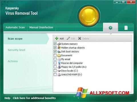 Screenshot Kaspersky Virus Removal Tool untuk Windows XP