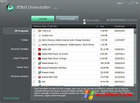 Screenshot IObit Uninstaller untuk Windows XP
