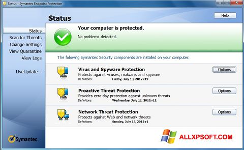Screenshot Symantec Endpoint Protection untuk Windows XP