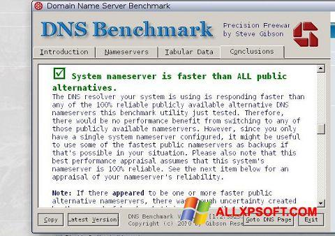 Screenshot DNS Benchmark untuk Windows XP