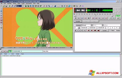 Screenshot Aegisub untuk Windows XP