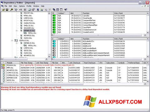 Screenshot Dependency Walker untuk Windows XP