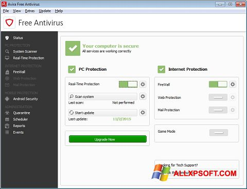 Screenshot Avira Free Antivirus untuk Windows XP