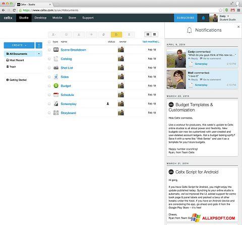 Screenshot Celtx untuk Windows XP