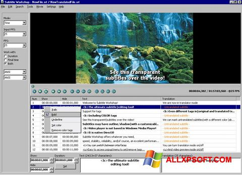 Screenshot Subtitle Workshop untuk Windows XP
