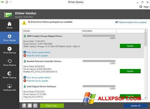 Screenshot Driver Genius untuk Windows XP