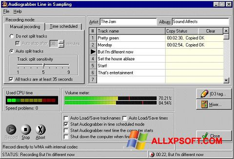 Screenshot Audiograbber untuk Windows XP