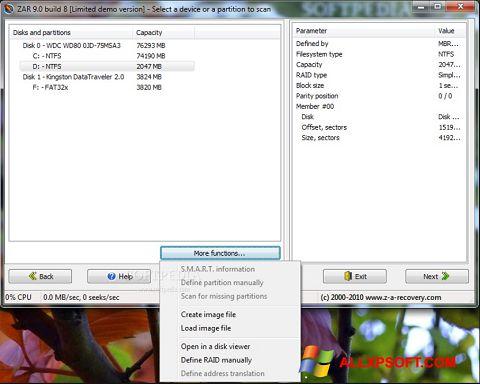 Screenshot Zero Assumption Recovery untuk Windows XP