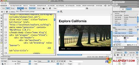 Screenshot Adobe Dreamweaver untuk Windows XP