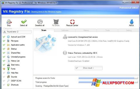 Screenshot Vit Registry Fix untuk Windows XP