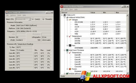 Screenshot Core Temp untuk Windows XP