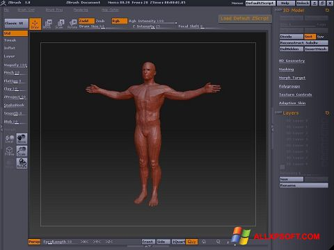 Screenshot ZBrush untuk Windows XP