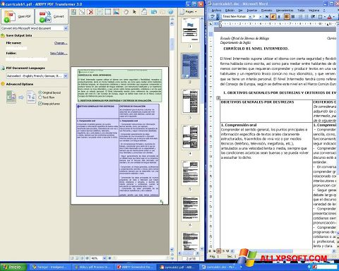 Screenshot ABBYY PDF Transformer untuk Windows XP