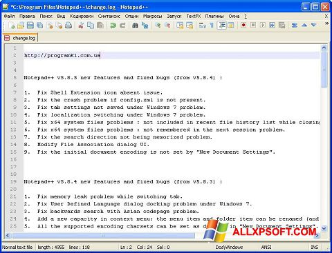 Screenshot Notepad++ untuk Windows XP