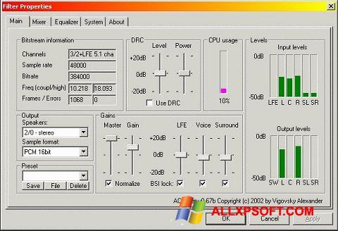 Screenshot AC3 Codec untuk Windows XP