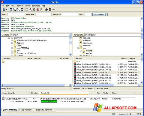Screenshot FileZilla Server untuk Windows XP