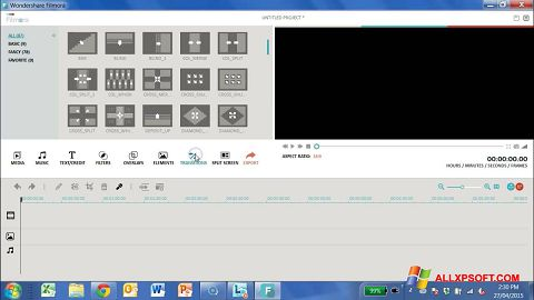 Screenshot Wondershare Filmora untuk Windows XP