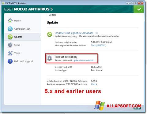 Screenshot ESET NOD32 untuk Windows XP