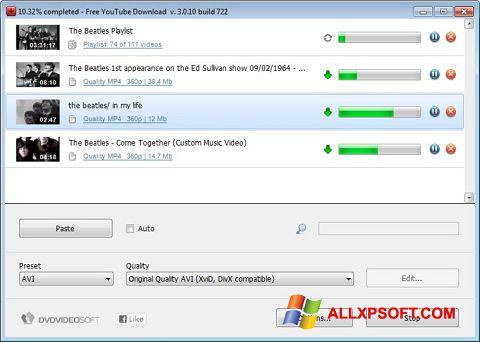 Screenshot Free YouTube Download untuk Windows XP