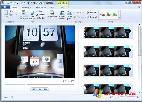 Screenshot Windows Live Movie Maker untuk Windows XP