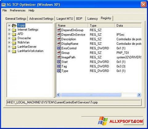Screenshot TCP Optimizer untuk Windows XP