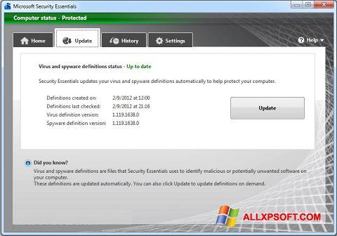 Screenshot Microsoft Security Essentials untuk Windows XP